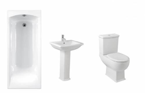 Eastbrook Cheltenham Bathroom Suite Inc Carron Delta Bath & Panel - Various Sizes